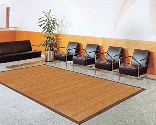 DE-COmmerce Bambusteppich Sense 200x250cm, 17mm Stege, breite Bordüre, massives Bambus | Bordürenteppich | Teppich | Bambusmatte | Wohnzimmer | Küche nachhaltig und ökologisch.