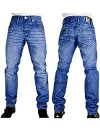 f02237e644c585 Peviani Mens Designer Blue Star Denim Jeans, Urban Hip Hop G Straight Fit  Midis