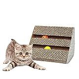 Roblue Double Usage Griffoirs pour Chats Tableau Triangulaire Carton Ondulé à Chat avec Bell Couleur de l'herbe