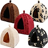 #9: CONNECTWIDE® Pet Hut/Tent Fleece Small Dog Puppy Polar Rabbit Cat Pyramid Hut Kennel Travel New Dog Cat Warm Fleece Winter Bed House Soft Luxury Basket For Pets Puppy, Reusable/Washable/Soft Cozy Fabric-GIVE YOUR #1PET THE GIFT OF AMAZING COMFORT (1 pc) Color: Assorted/Random Designs will be sent (All designs are unique & equally beautiful)