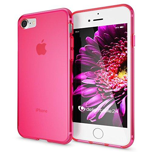 NALIA Handyhülle kompatibel mit iPhone 8/7, Ultra-Slim Silikon Case Cover, Dünne Crystal Schutz-Hülle Etui Handy-Tasche Back-Cover Bumper, TPU Telefon-Schale Smart-Phone Gummi-Hülle - Matt Pink Pink Gummi Case