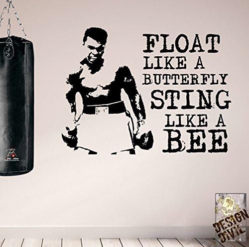 Float like a butterfly. .... Muhammad Ali-Decalcomania da parete educativi. nero