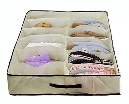 Durable 12 Raster Schuh Aufbewahrungsboxen Staub-Proof Non-Woven-Stoff Aufbewahrungsbehälter Wasserdicht Faltbare Space-Saving Schuhe Tasche mit transparenten Staub Abdeckung Beige Bett Sofa oder Kleiderschrank Bottom Kühlschrank-griff-abdeckung Silber