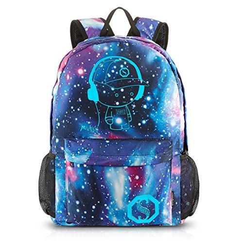 Galaxy Schulrucksack SKL Kinder Schulrucksack Unisex Daypack Luminous Schultasche Music Boy Oxford Schule Tasche mit 1 Bleistifttasche (Fach-schule-rucksack)
