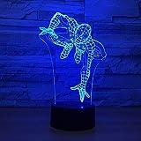 3D Led Spider Man Modelado Nightlight Kids Touch Interruptor Lámpara De Mesa Usb 7 Colores Que Cambian La Decoración Del Hogar Sueño Iluminación Niños Regalos