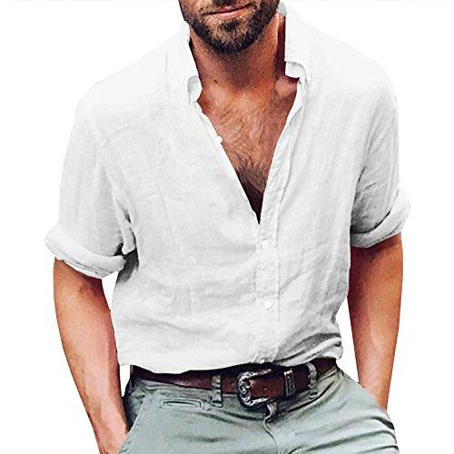 Herren Leinen Langarmshirt Henley Freizeithemd Regular Fit Kragenloses Shirt (XL, 1-Weiß)