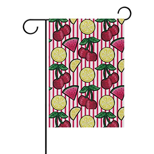 ASKYE Polyester Garden Flag Lemon Cherry Watermelon Fruits Red Stripe House Banner for Wedding Party Outside Garden Yard Double Side Print(Size: 12.5inch W X 18 inch H) -