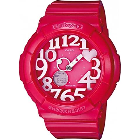 Casio Baby-G - Reloj analógico - digital de mujer de cuarzo con correa de resina rosa (alarma, cronómetro, luz) - sumergible a 100 metros