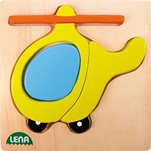 Lena 32084 - Holzpuzzle Helikopter, Kinderpuzzle mit Grundplatte 14 x 14 cm und 4 Puzzleteilen, Teile und Platte aus 100{4725b6d5753970cfa7495409ffb33628ddb43745d7e648c92937cd302df9197a} FSC Holz, Puzzlespiel für Kinder ab 18+ Monaten, Legespiel für Kleinkinder