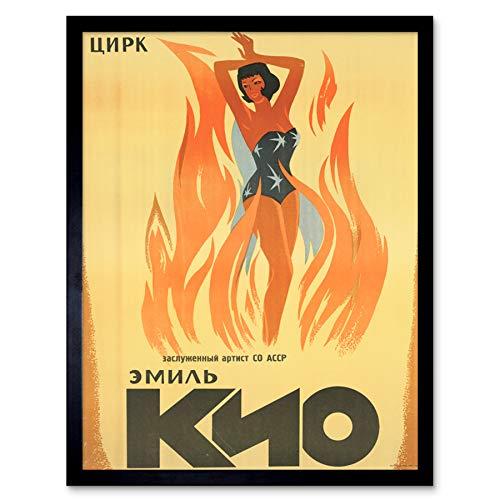 Emil Kio Circus Russia USSR Magic Fire Advert Art Print Framed Poster Wall Decor 12x16 inch Zirkus Russland Sowjetunion Zauber Feuer Werbung Wand Deko -