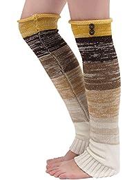 TININNA Nueva Mujeres Cálido Invierno Clásico Calentadores Medias de piernas Calcetines de Punto-Amarillo