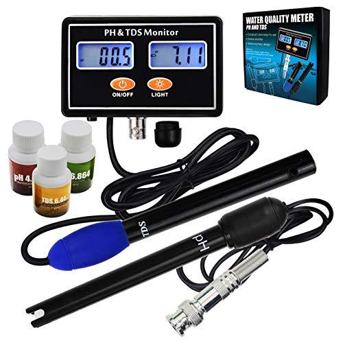 2 in 1 Digital pH & TDS Meter Dual Anzeige Wasser Qualität Prüfer Kontinuierlich Überwachung mit ATC Hoch Richtigkeit Messung Hydroponik, Aquakultur -