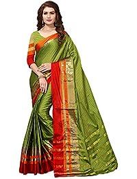 Applecreation Art Silk Saree With Blouse Piece (Parrot Green Saree_Free Size_2VRAZI201)