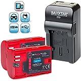 Baxxtar RAZER 600 II chargeur 5 en 1 + 2x Baxxtar Batterie pour Canon LP-E6 -- NOUVEAU avec entrée micro USB plus Sortie USB pour charger simultanément un troisième dispositif