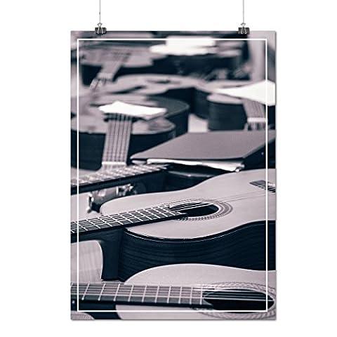 En bois Guitars La musique Matte/Glacé Affiche A1 (84cm x