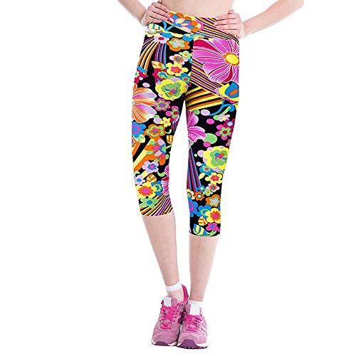iBaste Leggings de Sport Femme imprimé Jogging Yoga Pantalons 3/4 Capri Pantacourts Style 12