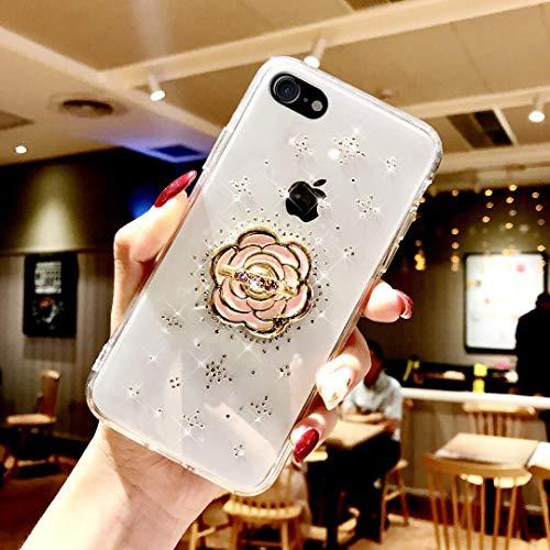 ikasus Schutzhülle für iPhone XR, Glitzer-Glitzer-Diamanten-Design, weiches TPU-Gummi-Gel, kristallklar, dünn, mit Strass-Ständer, Schutzhülle für iPhone XR Diamant iPhone 8/iPhone 7 blume (Verkaufen I Zu Phone)