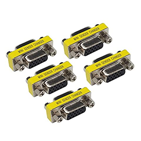 5 PACK HD15 VGA SVGA Female zum weiblichen Mini Gender Changer Koppler Adapter