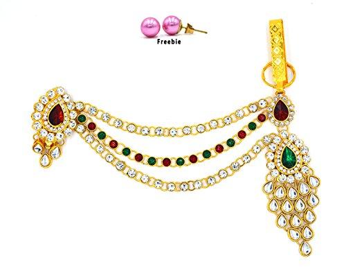 Aashya Mayro Rajasthani Rajwadi Maroon, Green and White Stone Kundan work Kamarband...