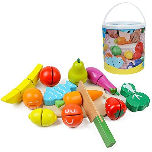 es Pädagogisches Küchenspielzeug Holzobst Holzgemüse Für Kleinkinder Schneideset Rollenspiele Im Eimer ()