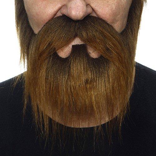 ende Neuheit Nomad Fälscher Bart und Fälscher Schnurrbart für Erwachsene Braun Farbe ()