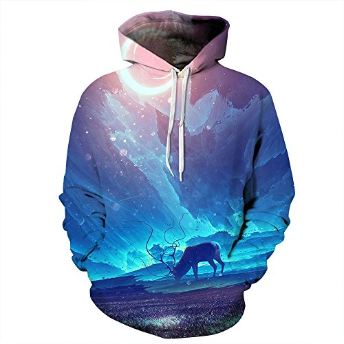AMOMA Unisex Slim Fit 3D Digital Bedruckte Sweatshirt Kapuzenpullover Hoodies Aurora