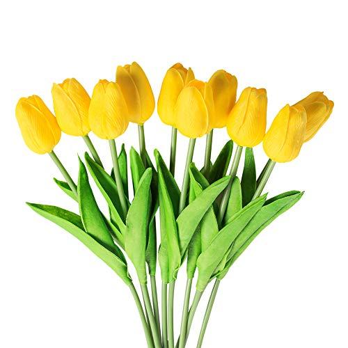 10 Stück Künstliche Tulpen Fake Blumen aus Latexmaterial, die sich echt anfühlen, für Hochzeit, Zimmer, Haus, Hotel, als Partydeko und DIY-Dekor(gelb)