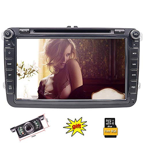 FoIIoE 20,3 cm 2 Din Touchscreen Autoradio DVD Player Sat NAV in Dash GPS Navigation Bluetooth Autoradio for VW Volkswagen Cars Golf Passat Touran Seat Skoda (Dvd-player In Dash)