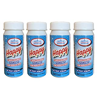 Happy Hot Tubs 3 Way Chlorine Test Strips Tub Spa Hottub Spas Dip Testing PH Alkalinity (200 Strips)