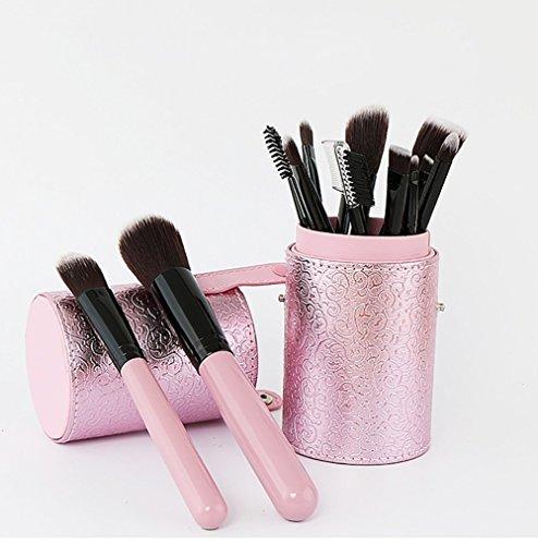 Maquillage Brosse, 12 Pcs/Set Rose Dentelle Seau Maquillage Brosse Tambour Mélange Poudre Fard à Paupières Contour Concealer Beauté Cosmétique Pinceau Jouet Outil Kit (Color : Pink)