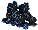 Inliner 2in1 Kinder | SportVida | Inline Skates Erwachsene | Verstellbare Schlittschuhe | Größenverstellbar ABEC7 Lager | Größen 33-40 | Schwarz Blau