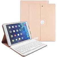 COO Funda con Teclado Español para Ipad Mini 1/2/3, 360 Grados Soporte Giratorio Inalámbrico Cuero de la PU Cubierta con Teclado Bluetooth Extraíble para iPad Mini 1/2/3 (Champán)