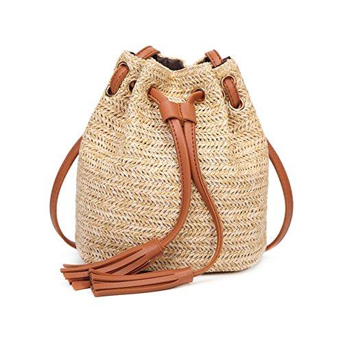 Haodou Bolsa de Playa Casual Mini Bolsas de Paja Bolsas de Hombro Cruz Cuerpo Mujeres Rattan Flecos...