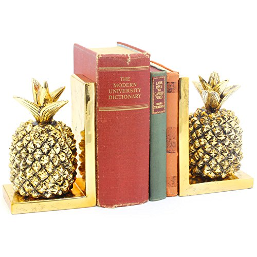 Regal Ananas (Qualität Gold Keramik Paar Atemberaubender Gold Ananas Deko Buchstützen/Regal Tidy)