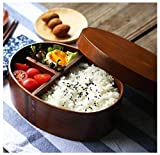 Japanische Lunchbox Bento Box Holz Sushi Box mit Trennwand Ovaler Handgefertigt Mittagessen Container Brotbüchse für Kindergarten, Picknick, Küche, Schule, Büro
