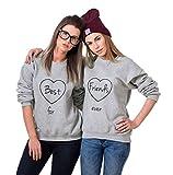 JWBBU Friends Pullover Für 2 Mädchen Sister Sweatshirt BFF Beste Freundin Pullis Mädchen Teenager Schwarz Hoodie Damen Buchstaben Geschenk 2 Stücke(Grau,Best-XS+Friends-XS)