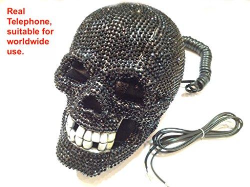 blingustyle mit Totenkopf Telefon zu Hause BK Free P & P