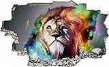 DesFoli Löwe Lion Abstrakt 3D Look Wandtattoo 70 x 115 cm Wanddurchbruch Wandbild Sticker Aufkleber C086