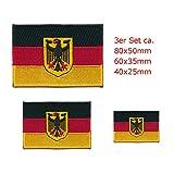 3 Deutschland Flaggen Adler Berlin Germany Flags Patch Aufnäher Aufbügler Set 0628