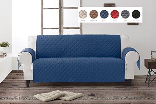 Textil-home salvadivano trapuntato copridivano dante 3 posti reversibile. colore blu