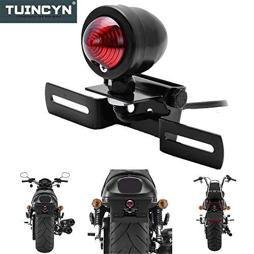 Rotes Rücklicht / Bremslicht / Blinklicht mit schwarzem Nummernschild-Rahmen von Tuincyn für Motorräder von Harley, Bobber, Chopper, Cruiser, Dyna, Glide und Sportster, 12V