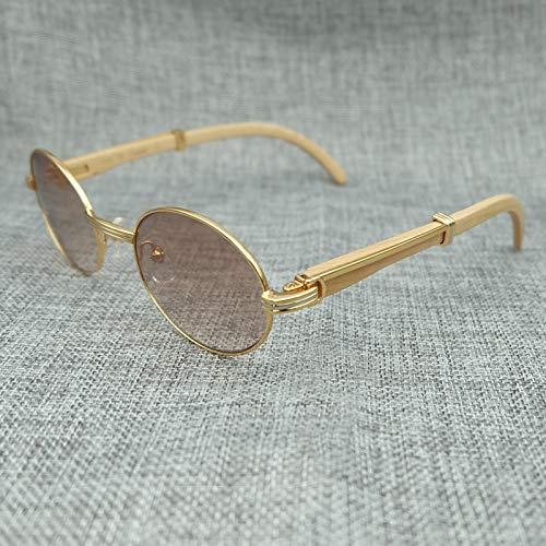 LKVNHP Mens Sonnenbrille Holz Markendesigner Sonnenbrille Fashion Lady Poster Brillen Oval Tourismus SonnenbrilleGradienten Braune Linse