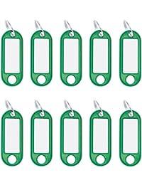 Wedo Porte-clés avec anneau en plastique 262101804, étiquettes amovibles–Vert (Lot de 10)