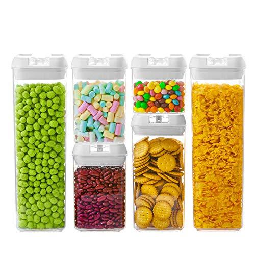 Numyton contenitori alimentari, set di 6 plastica contenitori per la conservazione degli alimenti con coperchi per la conservazione ideale per zucchero, tè, caffè, riso, pasta con airtight coperchi