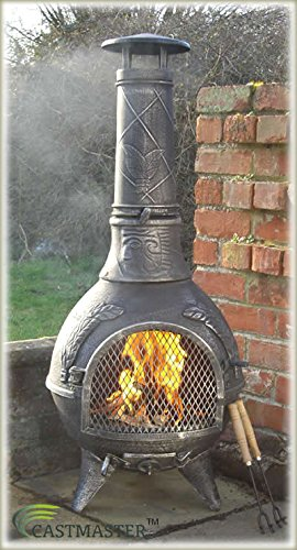 Castmaster Calico Cast Iron Chiminea - WITH FREE BBQ GRILL - Antique PEWTER Finish*