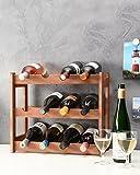 myHomery Weinregal aus Kiefernholz - Flaschenregal für bis zu 12 Weinflaschen - Weinständer modern für Wein, Sekt und Champagner - Weinflaschenhalter klein - Braun | 38x43