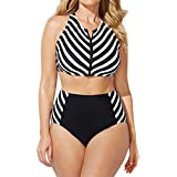 Oksale Baby Girl's High Waist Swimsuit Swimwear Conservative Stripe Bikini Set