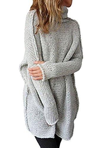 Yeesea Damen Lang Oversize Rollkragen Hochkragen Strickpullover Lange Ärmel Loose Pullover Sweater Grau Large