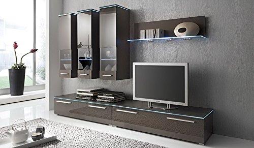 Anbauwand 5-tlg. Hochglanz grau, 2 x TV-Element, 3 x Hängeschrank, 1 x Glasbodenpaneel, Mindestbreite: ca. 240 cm, Tiefe: ca. 40 cm
