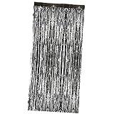 MagiDeal Vorhang Schwarz metalic Streifenvorhang Türvorhang Raumdekoration Party Deko - 3m